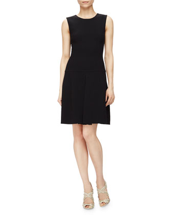 Sleeveless Jewel-Neck Drop-Waist Dress, Navy