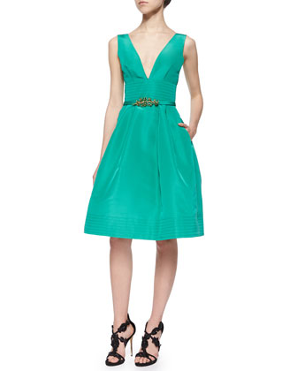 Fit-and-Flare Pouf Dress, Jade