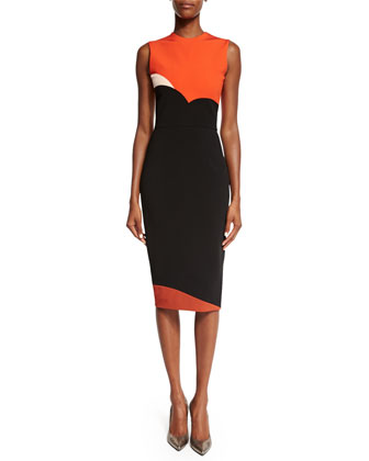 Sleeveless Heart Colorblock Sheath Dress, Sunset