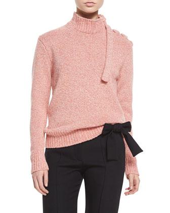 Melange Knit Lace-Up Shoulder Sweater