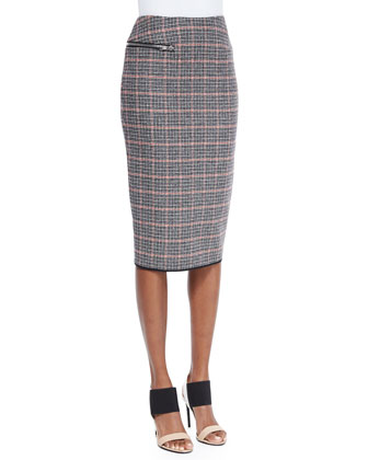 Plaid Check Tweed Pencil Skirt
