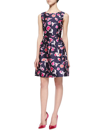 Floral Poppy-Print Dress, Navy