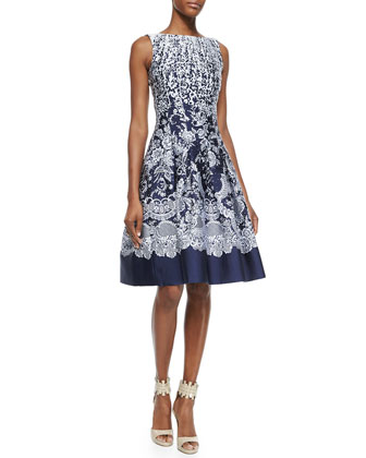 Brocade A-Line Dress, Navy