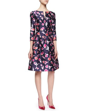 Long-Sleeve Poppy-Print Dress, Navy