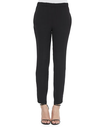 Silk Georgette Ankle Pants, Black