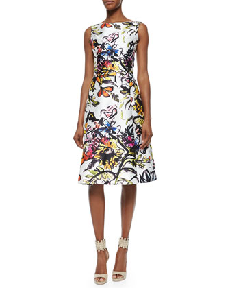 Cashmere/Silk-Blend Cropped Bolero & Abstract Floral-Print Fit-And-Flare Dress