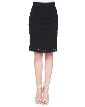 Embroidered Tweed Pencil Skirt