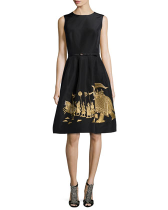 Elephant-Embroidered Pouf Dress
