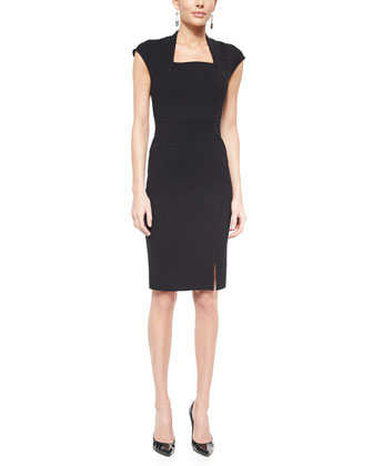 Luxe Sculpture Knit Cap-Sleeve Dress