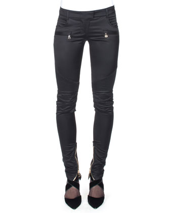 Satin Ankle-Zip Biker Pants, Black
