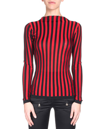 Optic-Stripe Pullover, Black/Red
