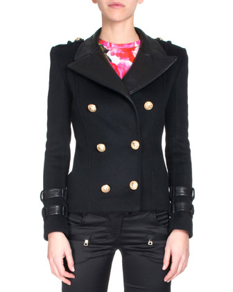 Leather-Collar Double-Breasted Jacket, Black