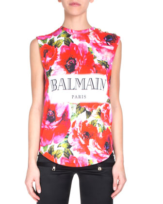 Satin Ankle-Zip Biker Pants, Sleeveless Floral-Print Tee & Double-Breasted ...
