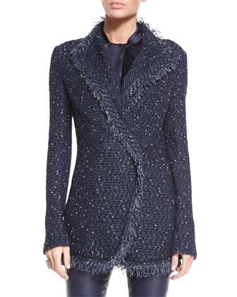 Glazed Luxe Tweed Knit Soft Jacket W/ Knit Fringe Trim
