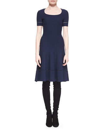 Ottoman-Knit Fit-and-Flare Dress, Navy