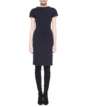 Cuffed Cap-Sleeve Sheath Dress