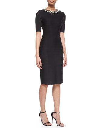 Jeweled-Neck Milano Knit Sheath Dress