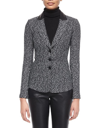 Binario Tweed Knit Jacket, Ribbed Knit Sleeveless Turtleneck & Stretch Napa ...