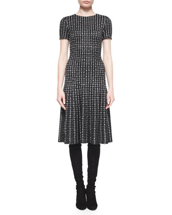 Novelty Knit Elongated Grid Dress