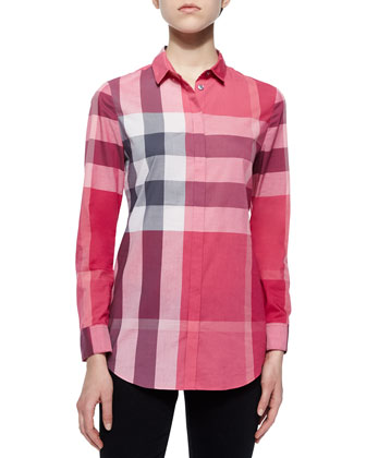 Long-Sleeve Placket-Front Check Shirt, Pink