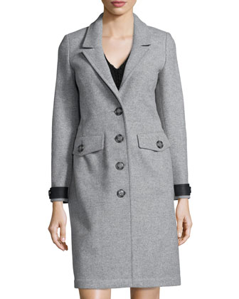Steadleigh Melton Four-Button Coat & Short-Sleeve Pleated Dress