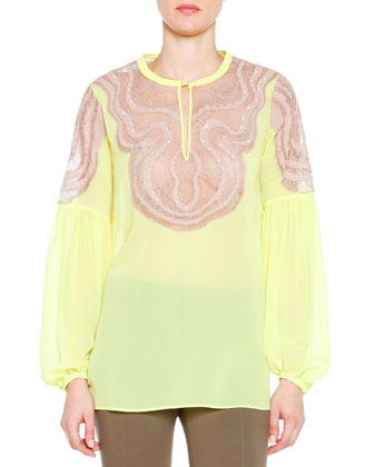 Silk Top with Lace Insets, Lemon