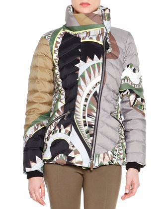 Printed Asymmetric-Zip Puffer Jacket
