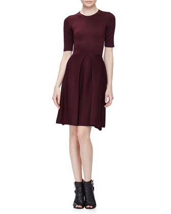 Half-Sleeve Fit-&-Flare Dress, Deep Burgundy