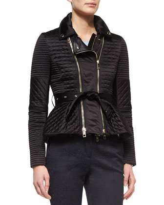 Quilted Biker Jacket with Belt, Cashmere Seamless Long-Sleeve Sweater & ...