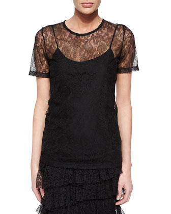 Lace Short-Sleeve Tee & Tiered Lace Pencil Skirt