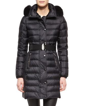 Fur-Trimmed Quilted Puffer Coat