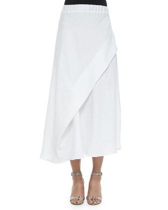 Asymmetric Paneled Linen Skirt, White