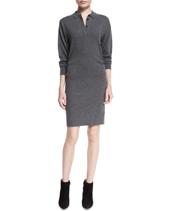Wiggsmoore Long Textured Striped Coat & Elyssa Cashmere-Blend Polo Shirtdress