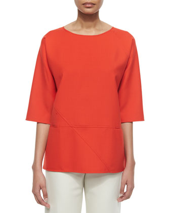 Double-Face Seamed Tunic, Red