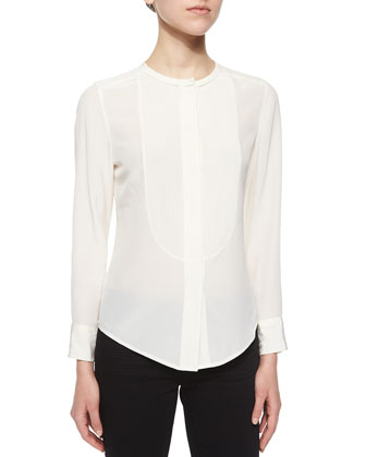 Bib-Front Blouse W/ Pleats