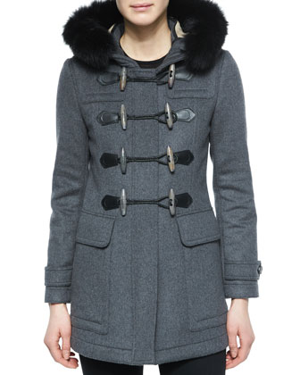 Blackwell Fitted Duffle Coat with Removable Fur-Trim