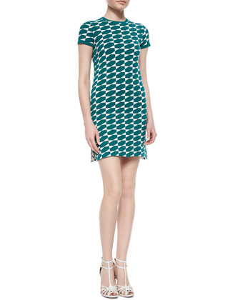 Geometric Check Pattern Sheath Dress