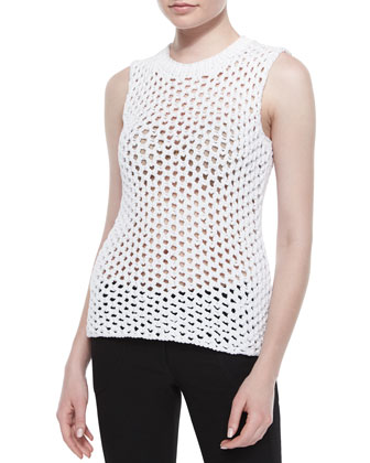 Open Fishnet Tunic-Style Sweater
