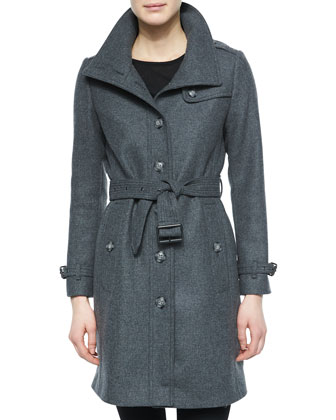 Single-Breasted Wool-Blend Trenchcoat