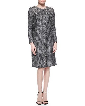 Folded Paillette Beaded Tweed Topper Coat