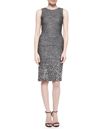Shimmer Tweed Paillette Beaded Sheath Dress