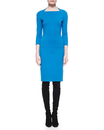 Luxe Sculpture-Knit Sheath Dress, Tahoe Blue