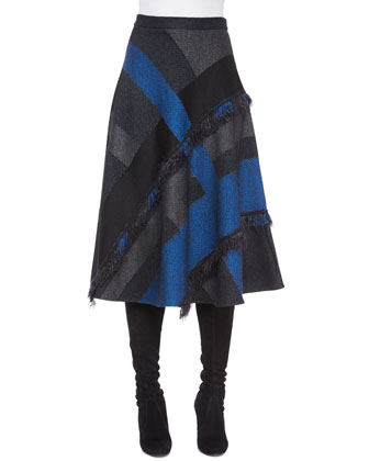 Macro Patchwork Plaid Knit Skirt