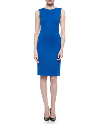 Mini Textural Knit Sheath Dress, Tahoe Blue