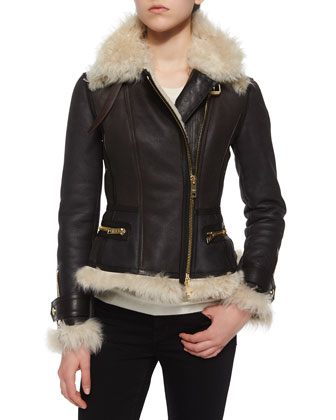 Fur-Trim Aviator Jacket, Dark Brown