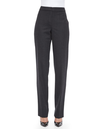 Flannel Suiting Straight-Leg Pants, Dark Gray Melange