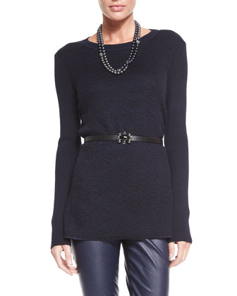 Rib Knit Long-Sleeve Tunic, Navy/Caviar