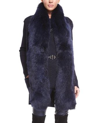Knit Vest with Detachable Fox Fur Collar