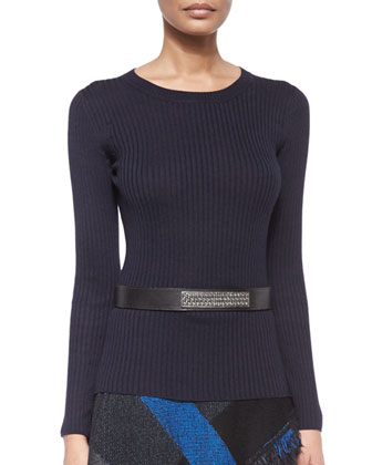 Luxe Sculpture-Knit Sheath Dress & Leather Hip Belt with Metal Plate
