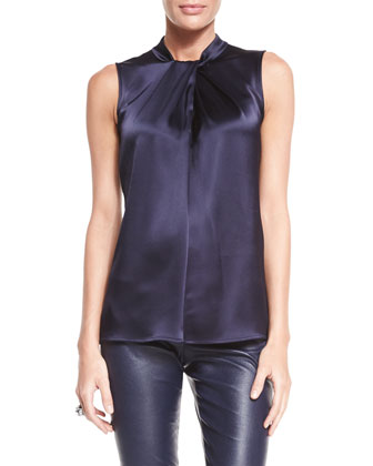 Liquid Satin Wrapped Shell Top, Navy